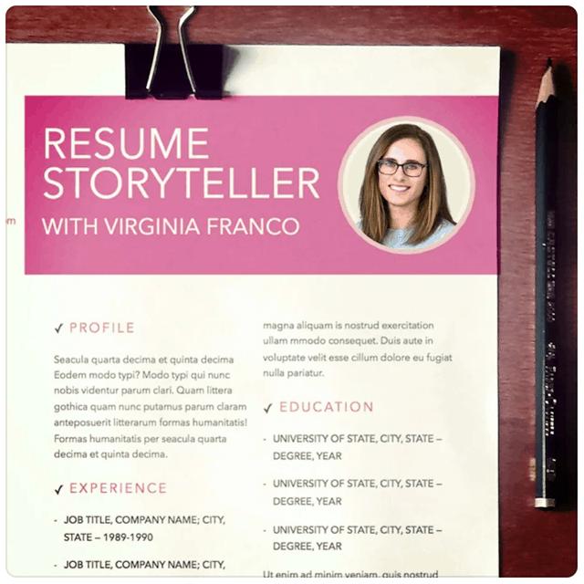 Resume Storyteller with Virginia Franco, made to look like resume