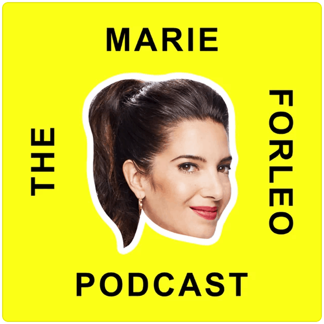The Marie Forleo Podcast, Marie's head on a bright yellow background