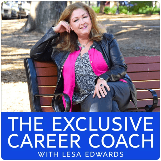 The Exclusive Career Coach, Lesa Edwards sitting on a park bench