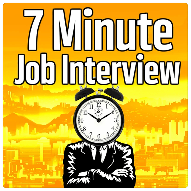 7 minute job interview, illustration of a man with a clock head, orange and yellow background