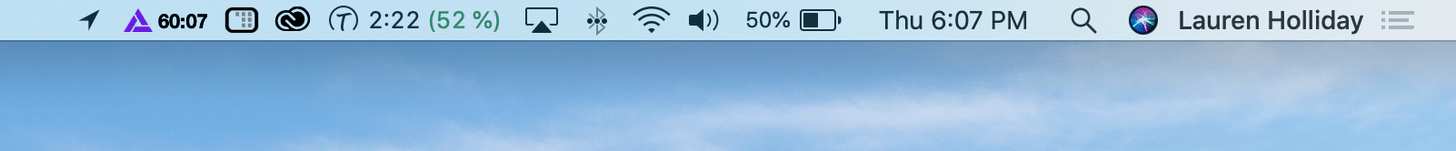 """Timing menu bar showing how much time spent on the computer and a """"productivity score"""""""