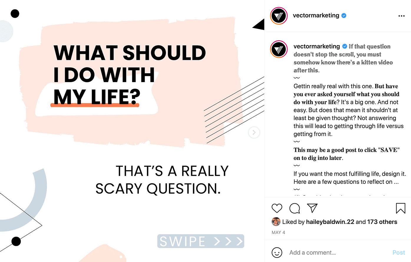 """Vector Marketing Instagram post, """"What should I do with my life? That's a really scary question."""""""