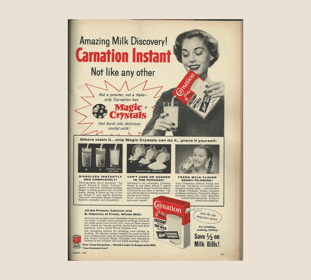 1955 advertisement for Carnation Instant