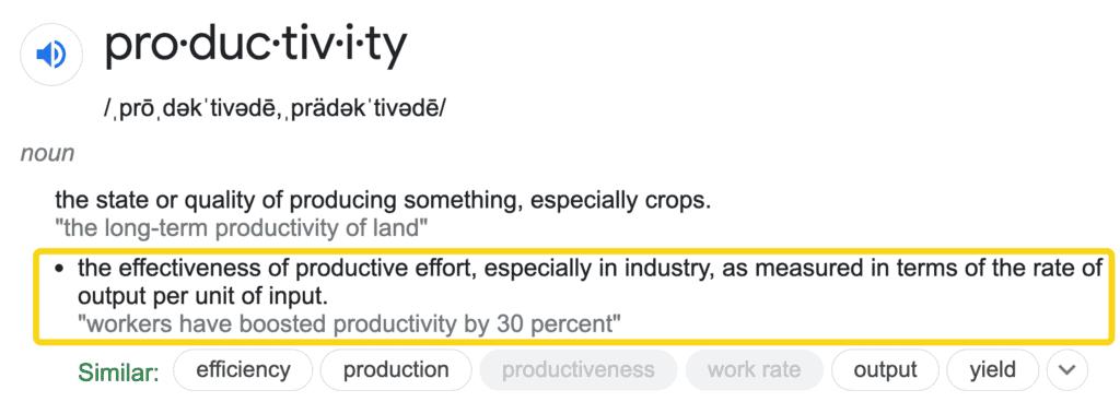 productivity definition