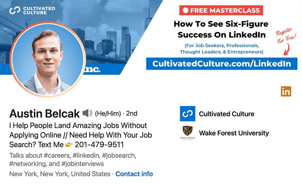 Austin Belcak's LinkedIn profile