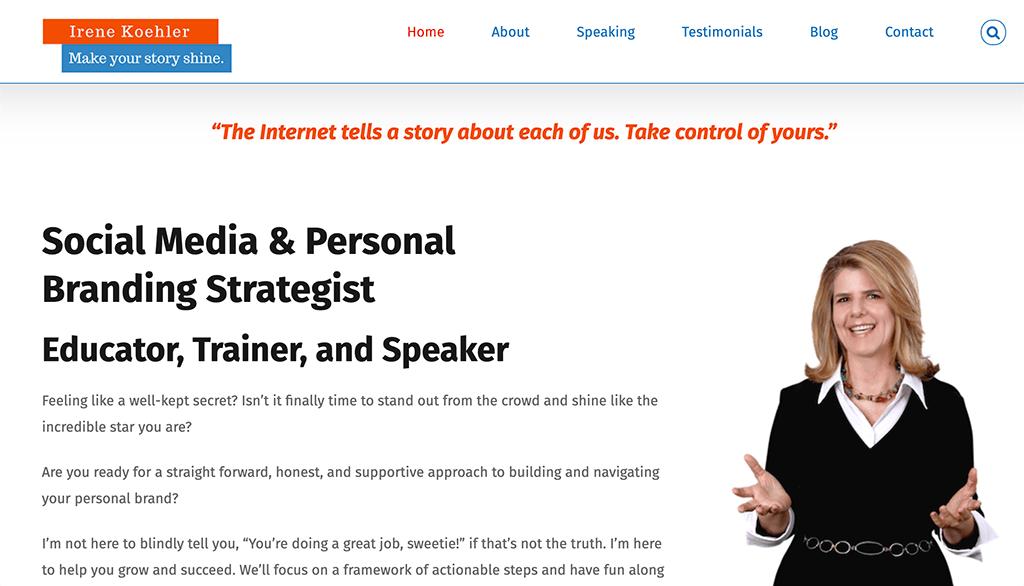 Irene Koehler's website and personal brand statement