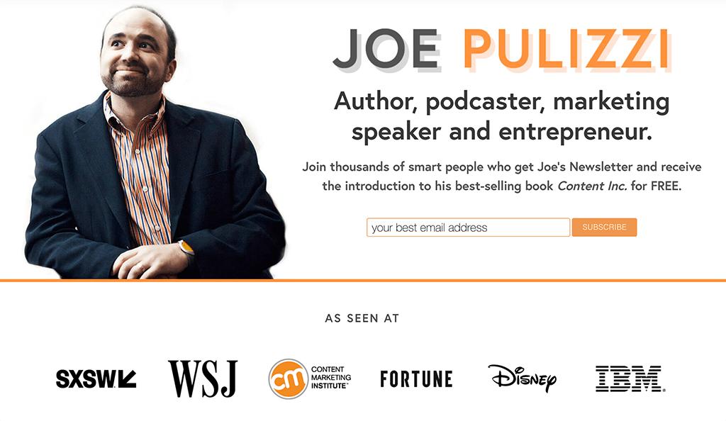 Joe Pulizzi's website and personal brand statement