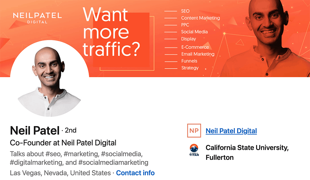 Neil Patel's LinkedIn page featuring his personal brand statement