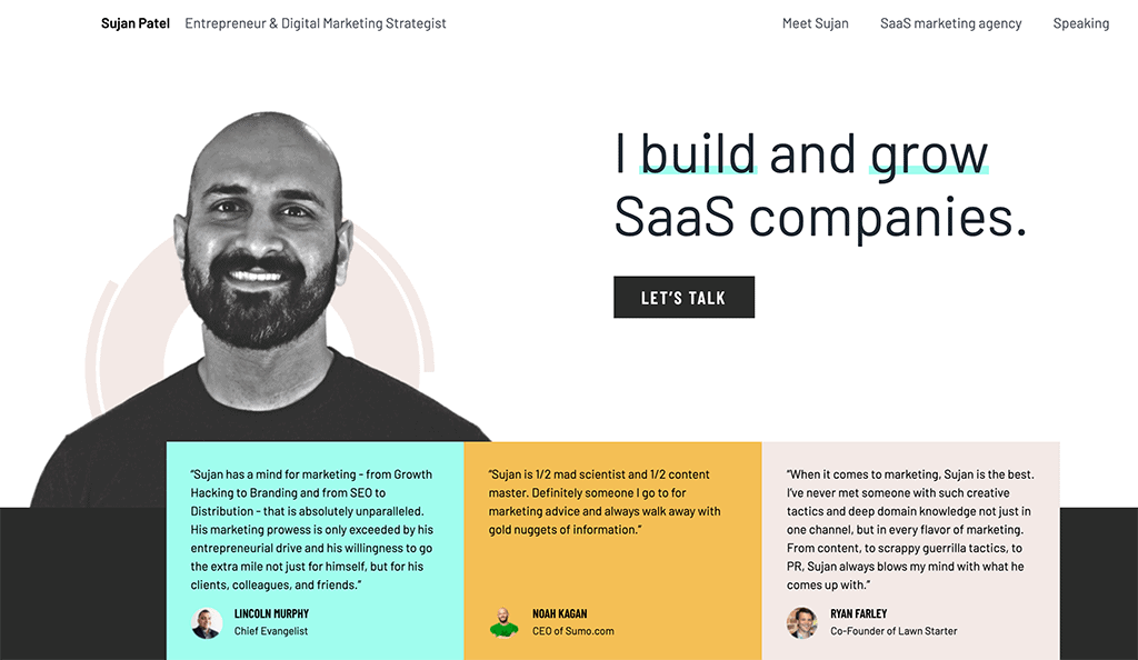 Website and personal brand statement of Sujan Patel